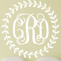 "Alphabet Garden Designs Rustic Wreath Interlock Monogram Personalized Wall Decal Color: Bubble Gum, Size: 44"" H x 44"" W"