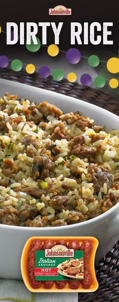 Dirty Rice Crowd favorite and conversation starter for this easy and delicious Cajun recipe! Comfort food at its best – sausage, rice, and other tasty herbs and spices. Sausage Recipes, Pork Recipes, Casserole Recipes, Cooking Recipes, Easy Cajun Recipes, Comfort Food Recipes, Burrito Recipes, Cajun Cooking, Cajun Food