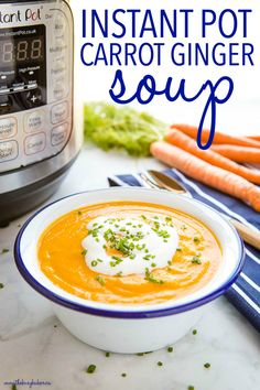 Ginger Soup Recipe, Carrot Ginger Soup, Fall Soup Recipes, Dinner Recipes, Light Recipes, Easy Recipes, Healthy Recipes, Best Instant Pot Recipe, Homemade Soup