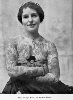 hockeyteeth:    Edith Burchett - George Burchett (Tattoo pioneer's) wife