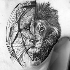 Sketch Male Lion Chest Tattoos