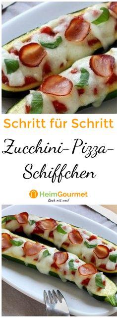 Schritt für Schritt zu würzig gefüllten Zucchini-Pizza-Schiffchen