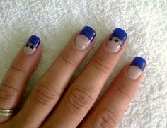 Blue Tips, Acrylic, with black stars. Blue Tips, Black Star, How To Do Nails, Stars