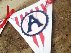 Baseball baby shower bunting banner, baseball birthday party banner, baseball or sports party bunting banner. $28.00, via Etsy.