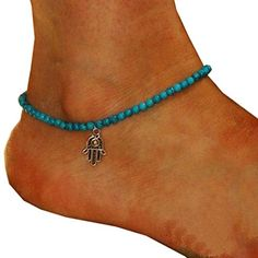 Fashion Beach Anklets Boho Beads Hamsa Fatima Foot Chain Jewelry.More info for sterling silver anklet chain;anklet gold jewellery;indian anklets with bells;kundan anklets online;online anklets shopping could be found at the image url.(This is an Amazon affiliate link and I receive a commission for the sales)