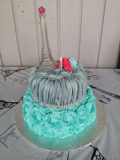 Eiffel Tower Rose Cake!!