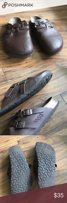 Birkenstock Birkis Brown Clogs Brown pebble clogs with cork sole. Ladies 10 Men 8 Birkenstock Shoes
