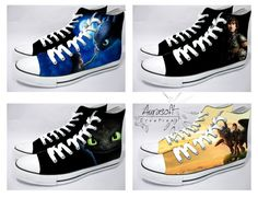 Custom Painted Hi Top Canvas How To Train Your Dragon by Aurasoft