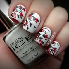 Winter Berries nail art by Kim