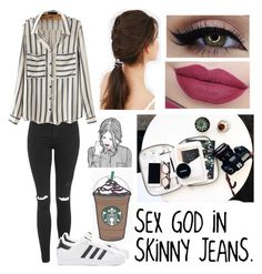 """""""Sem título #559"""" by alphalarryboy ❤ liked on Polyvore featuring Topshop, adidas Originals, Urban Outfitters and House of Harlow 1960"""