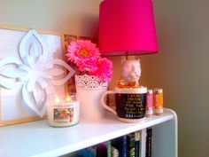 Pink Lamp • Pink Flowers• Candles