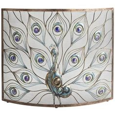 Peacock Fireplace Screen  $129.99  As durable as it is opulent, our Peacock Fireplace screen is handcrafted of iron that's been powder-coated to guard against rust, then accented with glass insets for even more visual appeal. It's hot, all right.  Details  http://www.pier1.com/Peacock-Fireplace-Screen/2644780,default,pd.html  Product Actions  Add to cart options  Quantity
