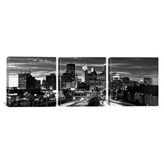 """East Urban Home Panoramic Minneapolis Skyline Cityscape Evening 3 Piece Photographic Print on Wrapped Canvas Set in Black and White Size: 12"""" H x 3..."""