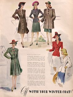 1942 McCalls Winter Coat Patterns Ad - Fashion Sketch Drawings - 1940s Women's Fashions - Retro Flouncy Skirt Dress - Vintage Sewing Ad