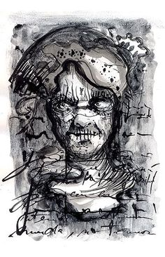 Sealed Totem#Ink and toner wash on paper#Bilal Dadou#drawing#esoteric#psicology#berber#mystic#tipography#berber#northafrican#archtyp