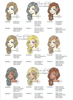 Gezichts- en haarkleur voorbeelden Promarkers. Haarkleur van licht naar donker nr. 1