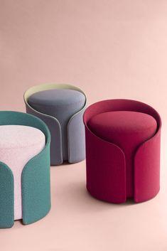 Dressed pouf design by Désormeaux Carrette studio Affordable Furniture, Cheap Furniture, Bench Furniture, Furniture Design, Furniture Inspiration, Design Inspiration, Colani, Concept Shop, Diy Crafts For Adults