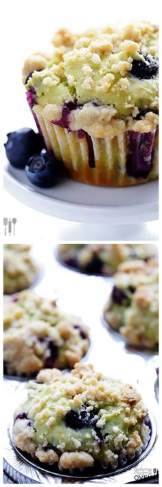 Blueberry Avocado Muffins -- delicious fresh blueberry muffins made with a hint of avocado | gimmesomeoven.com #breakfast