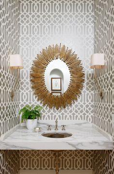 transitional-powder-room sun burst mirror easy diy sticks ethnic wallpaper decorating