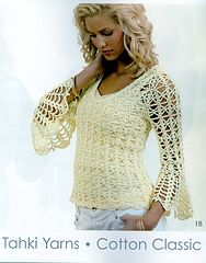 """Ravelry: Bell Sleeve Pullover pattern by Doris ChanSIZES: finished bust 33 (36, 39,  43, 48, 52, 55)"""""""