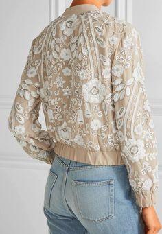 Tweed Rose  MUST HAVE SS 17  Snowdrop embellished embroidered georgette  bomber jacket Stile abedf6c66fc