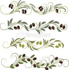 olive - Random Things I Like - olive olive border Tole Painting, Ceramic Painting, Olive Branch Tattoo, Bottle Drawing, Pottery Painting Designs, Nature Tattoos, Whimsical Art, Free Vector Art, Flower Cards