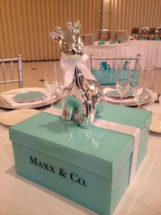 Tiffany Inspired shower Centerpieces.
