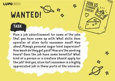 Wanted! Classroom task for LUPO: The Space Adventure collaborative and creative storytelling card game Job Advertisement, Primary School, Teamwork, Problem Solving, We The People, Card Games, Storytelling, No Response, Classroom