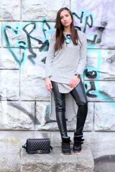 Outfit: black leather pants & no make up - Highheels & Snapbacks