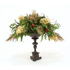 Found it at Wayfair - Silk Hydrangeas with Foliage in Metal Bowl with…