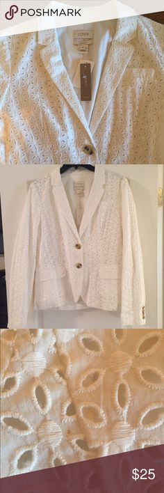 JCrew Eyelet Blazer White eyelet J Crew Blazer with cream/brown buttons. Never worn and just left hanging in my closet. Tags and spare buttons included. Small, barely noticeable beige dot (shown in picture) on back of Blazer near left armpit area. Otherwise, excellent condition. Beautiful piece with lovely details. J. Crew Jackets & Coats Blazers
