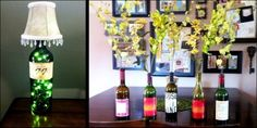 Wine Bottle Projects - repurposed lamp and vases