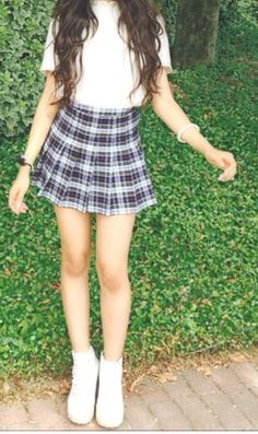 Plaid tennis skirt + all white