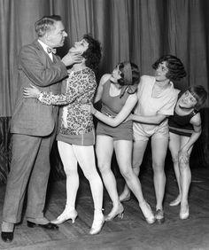 W.C. Fields and Ziegfeld Follies girls Helen Ellsworth, Aelene Sheldon, Cricket Wooten and Margy Martyn during a rehearsal, February 20, 1925