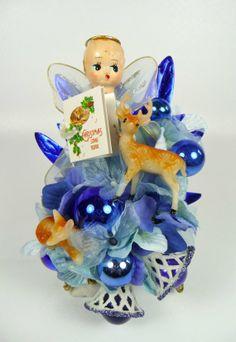 Christmas Corsage Vtg Blue Angel Reindeer Retro Blue by meaicp, $35.00