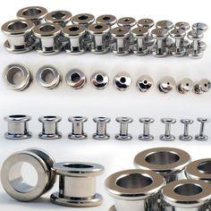 14G-5-8-Steel-Plugs-Double-Flared-Ear-Gauges-Screw-Fit-Metal-Flesh-Tunnel-Pair