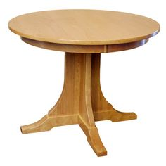 """This 38"""" Round Cherry Mission Pedestal Table is perfect for small gatherings. Built in the Heartland of America by Amish craftsman this cherry table remains true to the Arts & Crafts style. The simplicity and quality of this table is unrivaled with it solid cherry wood construction. The beautiful grain pattern is highly visible as each piece of cherry lumber is hand selected by master Amish craftsmen. The functionality and overall beauty of this table will charm all your guests."""