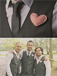 Great non-floral boutonnieres!!!  pink heart boutonnieres made out of felt for the men in your wedding #creativeboutonniere #diyyourgroom #arenttheycute http://www.weddingchicks.com/2013/11/05/diy-barn-wedding/