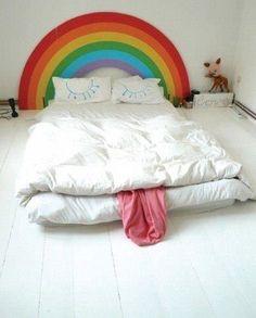 interior design, home decor, bedding, beds, walls, white, rainbows