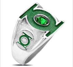 3618 SOLID STERLING SILVER .925 GREEN LATERN RING