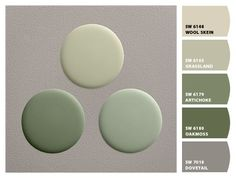 GREENS To Use In Your Fall Home Paint colors from Chip It! by Sherwin-Williams.:Paint colors from Chip It! by Sherwin-Williams. Green Paint Colors, Paint Color Schemes, Exterior Paint Colors, Exterior House Colors, Paint Colors For Home, Room Colors, Vintage Paint Colors, House Paint Exterior, Wall Colors
