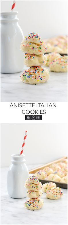 Anisette Italian Cookies are a traditioanl italian cake like cookie that is covered with a shiny glaze and colorful sprinkles. Quick and easy to make with just a few ingedients one being anise extract that gives these cookies their amazing flavor. Italian Cookie Recipes, Italian Cookies, Easy Cookie Recipes, Cookie Desserts, Healthy Recipes, Dessert Recipes, Easy Italian Desserts, Italian Wedding Cookies, Dessert Ideas