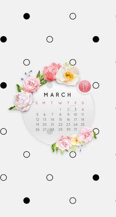 Wallpaper iPhone/calendar march 2017⚪