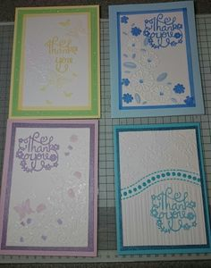 Thank you cards using embossing folders