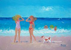 Beach scenes, whimsical art, girls in bikinis, beach painting, 5x7 painting, Etsy art by Jan Matson