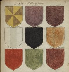 """""""An early modern color guide"""" -- showing Armorial of English Families, ca. Modern Colors, Social Studies, Renaissance, Medieval, Families, Ms, Calligraphy, English, Colours"""