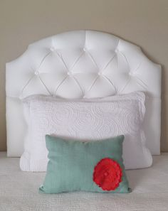 Twin Sized White Tufted Upholstered Headboard Custom Wall Mounted