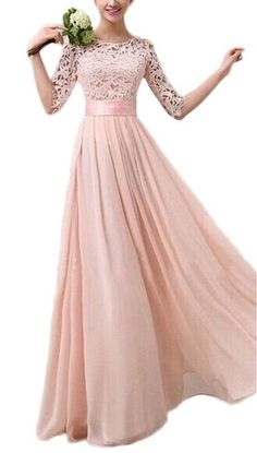 Bigood Elegante Damen 3 4 Arm Abendmode Abendkleider Maxikleid Cocktailkleid  L Pink Jungfer, Party 314b7ab872