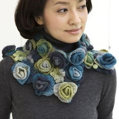crochet flower scarf.Love this!!