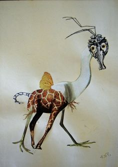 Delightful Grotesque: Katie McCann's collages http://beetleblossom.tumblr.com/09  https://observatorymansions.wordpress.com/2015/03/23/delightful-grotesque-katie-mccanns-collages/ #vintageillustrations bits & peices creating mythical creatures #paperart #collage on books or canvas. Sells her work, and art prints too.